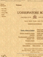 l'Osservatore Romano Vatican City Newspaper